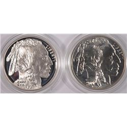 2001 AMERICAN BUFFALO COMMEM 2pc SILVER SET - PROOF & UNC