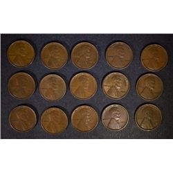 (15) 1909 VDB LINCOLN CENTS NICE CIRCULATED