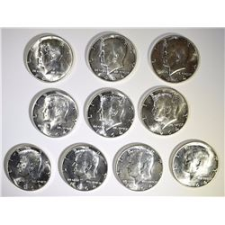 ( 10 ) GEM BU 1964-D KENNEDY HALF DOLLARS