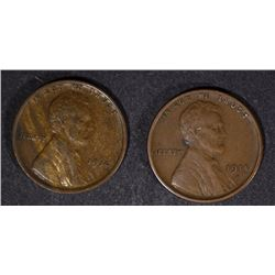 1914 & 1914-S LINCOLN WHEAT CENTS XF