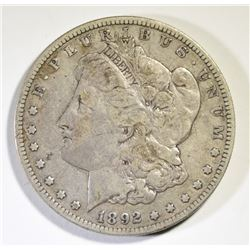 1892-S MORGAN SILVER DOLLAR, FINE+  KEY DATE