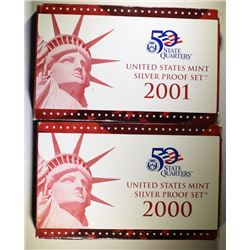 2000 &2001 U.S. SILVER PROOF SETS IN  ORIGINAL PACKAGING