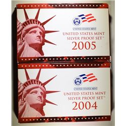 2004 & 2005 U.S. SILVER PROOF SETS IN ORIGINAL PACKAGING