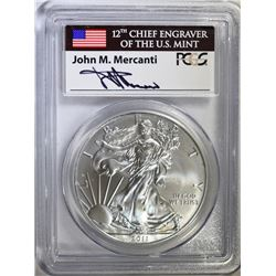 2011-W 25th ANNIV AMERICAN SILVER EAGLE, PCGS MS-70 FIRST STRIKE MERCANTI SIGNED