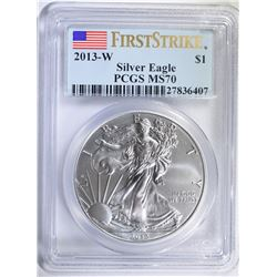 2013-W AMERICAN SILVER EAGLE, PCGS MS-70 FIRST STRIKE