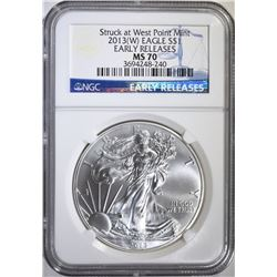 2013-(W) AMERICAN SILVER EAGLE, NGC MS-70 EARLY RELEASES