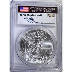 2014 AMERICAN SILVER EAGLE, PCGS MS-70 FIRST STRIKE, MERCANTI SIGNATURE