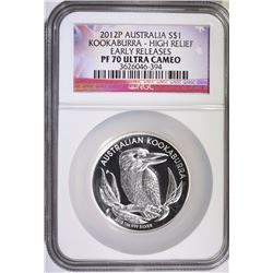 2012 AUSTRAILIAN HIGH RELIEF KOOKABURRA, NGC PF-70 ULTRA CAMEO, EARLY RELEASES