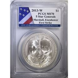 2013-W 5 STAR GENERALS COMMEMORATIVE SILVER DOLLAR, PCGS MS-70