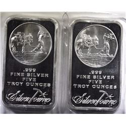 ( 2 ) FIVE OUNCE .999 SILVER BARS ( SILVERTOWNE