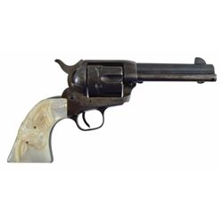 "Colt Single Action Army .45 with Steer Head Grips Serial no. 343056  .45  4 3/4"" barrel in good cond"
