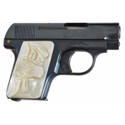 Colt 25 Auto Pistol with Steer Head Grips Serial no. 390201 In original box with mother of pearl ste