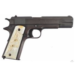 Colt Model 1911 with Steer Head Grips Serial no. 389249 .45 marked United States Property. Mother of