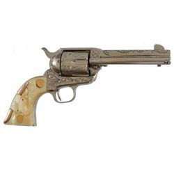 Colt Model 1873 SAA .45  with Steer Head Grips Ser. no. 352684. Engraved Nickel with Mother of Pearl