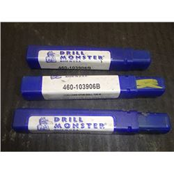 "Drill Monster 25/64"" Carbide Stub Drills, 3 Total"