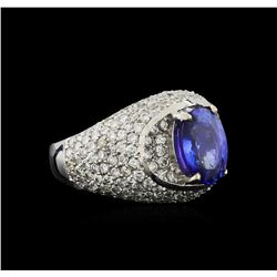 14KT White Gold 2.69 ctw Tanzanite and Diamond Ring