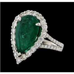 4.05 ctw Emerald and Diamond Ring - 14KT White Gold