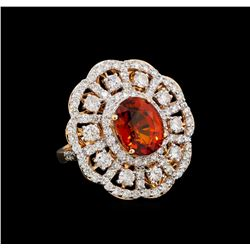 6.19 ctw Spessartite and Diamond Ring - 18KT Rose Gold