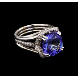 6.87 ctw Tanzanite and Diamond Ring - 14KT White Gold