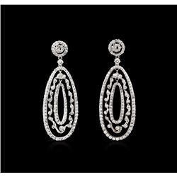 3.21 ctw Diamond Dangle Earrings - 14KT White Gold