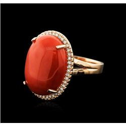 14KT Rose Gold 20.41 ctw Coral and Diamond Ring