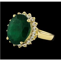 6.00 ctw Emerald and Diamond Ring - 14KT Yellow Gold