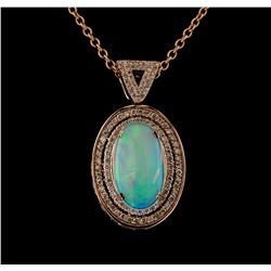 8.77 ctw Opal and Diamond Pendant With Chain - 14KT Rose Gold
