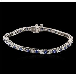 14KT White Gold 1.28 ctw Tanzanite and Diamond Bracelet