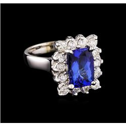 2.76 ctw Tanzanite and Diamond Ring - 14KT White Gold
