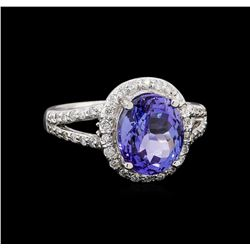 4.10 ctw Tanzanite and Diamond Ring - 14KT White Gold