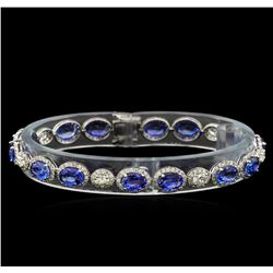 13.00 ctw Blue Sapphire and Diamond Bracelet - 18KT White Gold