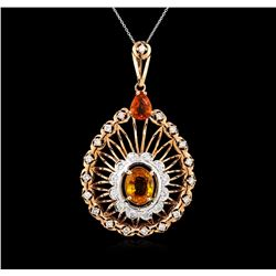 5.15 ctw Orange Sapphire and Diamond Pendant - 14KT Rose Gold