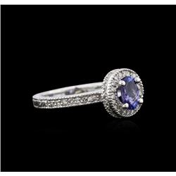 0.81 ctw Tanzanite and Diamond Ring - 14KT White Gold
