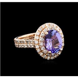 4.20 ctw Tanzanite and Diamond Ring - 14KT Rose Gold