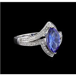 14KT White Gold 1.57 ctw Tanzanite and Diamond Ring