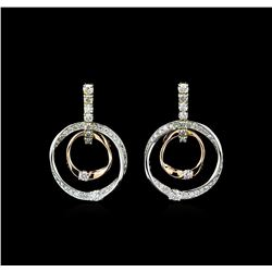 0.75 ctw Diamond Earrings - 14KT Tri Color Gold