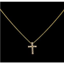 0.31 ctw Diamond Cross Pendant With Chain - 14KT Yellow Gold
