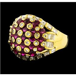 2.75 ctw Ruby and Diamond Ring - 18KT Yellow Gold