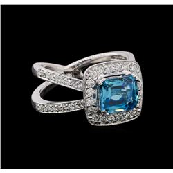 2.77 ctw Blue Zircon and Diamond Ring - 14KT White Gold