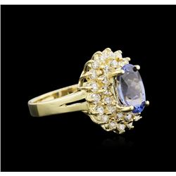 1.90 ctw Tanzanite and Diamond Ring - 14KT Yellow Gold