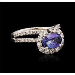18KT White Gold 1.45 ctw Tanzanite and Diamond Ring