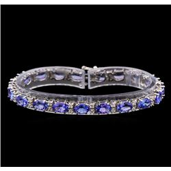 14KT White Gold 15.01 ctw Tanzanite and Diamond Bracelet