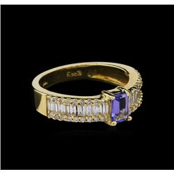 0.55 ctw Tanzanite and Diamond Ring - 14KT Yellow Gold
