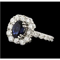 1.45 ctw Sapphire and Diamond Ring - 14KT White Gold