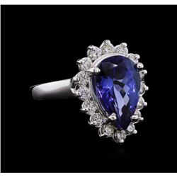 4.40 ctw Tanzanite and Diamond Ring - 14KT White Gold