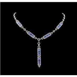 10.66 ctw Sapphire and Diamond Necklace - 18KT White Gold