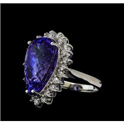 12.46 ctw Tanzanite and Diamond Ring - 14KT White Gold