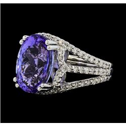 9.16 ctw Tanzanite and Diamond Ring - 14KT White Gold