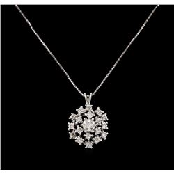 14KT White Gold 0.35 ctw Diamond Pendant With Chain