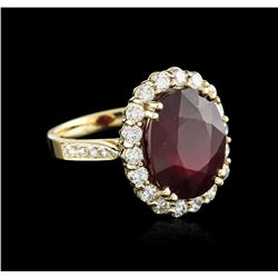 14KT Yellow Gold 13.57 ctw Ruby and Diamond Ring